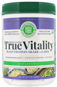 Green Foods Corporation True Vitality Plant Protein Shake with DHA
