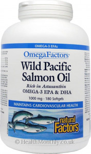 Natural Factors Omega Factors Wild Pacific Salmon Oil 1000 mg