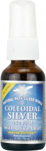 Natural Path Silver Wings Colloidal Silver with Olive Leaf Spray