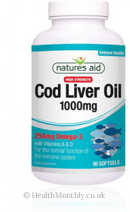 Natures Aid Cod Liver Oil, High Strength, 1000 mg, 33% Extra Free