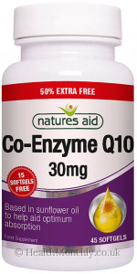 Natures Aid Co-Enzyme Q10 30 mg - 50% Extra Free