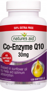 Natures Aid Co-Enzyme Q10 - 50% Extra Free