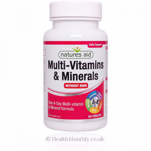 Natures Aid Multi-Vitamins & Minerals, without Iron