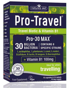 Natures Aid Pro-Travel, 30 Billion Bacteria, with Vitamin B1 100 mg