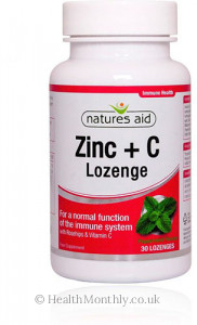 Natures Aid Zinc Lozenge, Peppermint, with Rosehip + Vitamin C