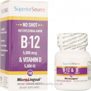 Superior Source No Shot Methylcobalamin B12 & Vitamin D