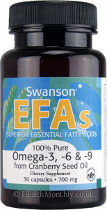 Swanson EFAs 100% Pure Omega 3, 6 & 9 from Cranberry Seed Oil