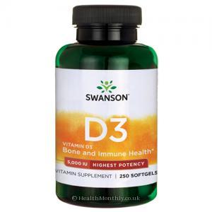 Swanson High Potency Vitamin D3 (5,000iu, 250 Softgels)