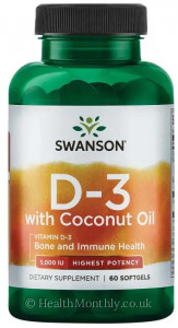 Swanson Highest Potency Vitamin D-3 with Coconut Oil