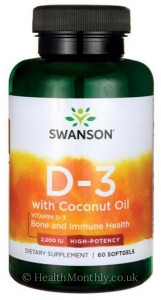 Swanson High-Potency Vitamin D3 with Coconut Oil