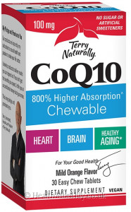 Terry Naturally CoQ10 Chewable, 800% Higher Absorption, Vegan