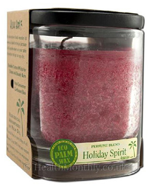 Aloha Bay Eco Palm Wax Candle Holiday Spirit Red