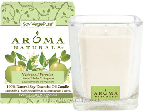 Aroma Naturals Verbena Square Glass Soy Candle