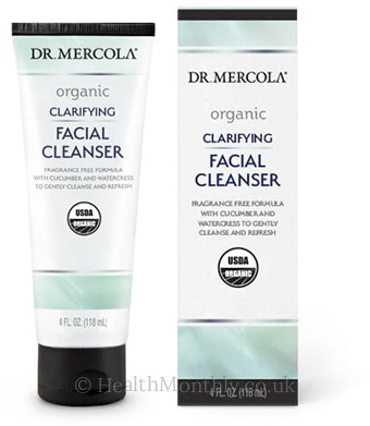 Dr. Mercola Organic Clarifying Facial Cleanser, Fragrance-free Formula including 7 Botanicals