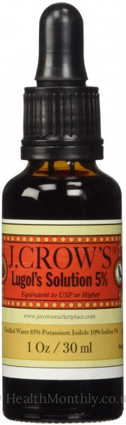J.CROW'S® Lugol's Solution 30 ml, Max Strength 15% Formula, 5% Iodine + 10% Potassium Iodide, Thyroid Gland Function Support Supplement, Wounds & Burns