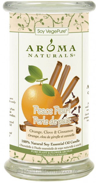 Aroma Naturals Peace Pearl Large Glass Pillar Soy Candle