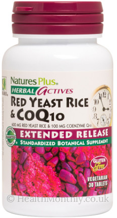 Natures Plus® Herbal Actives, Red Yeast Rice & CoQ10, Extended Release, Standardised to 1.7% Monacolins