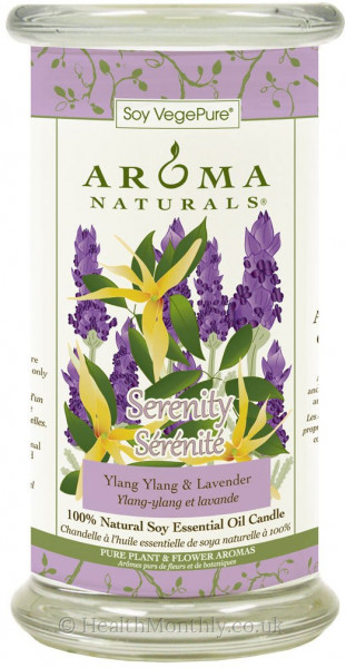 Aroma Naturals Serenity Large Glass Pillar Soy Candle