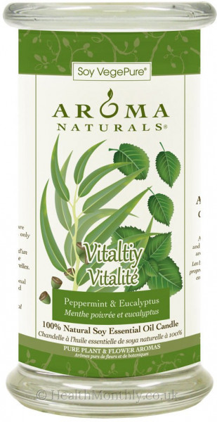 Aroma Naturals Vitality Large Glass Pillar Soy Candle