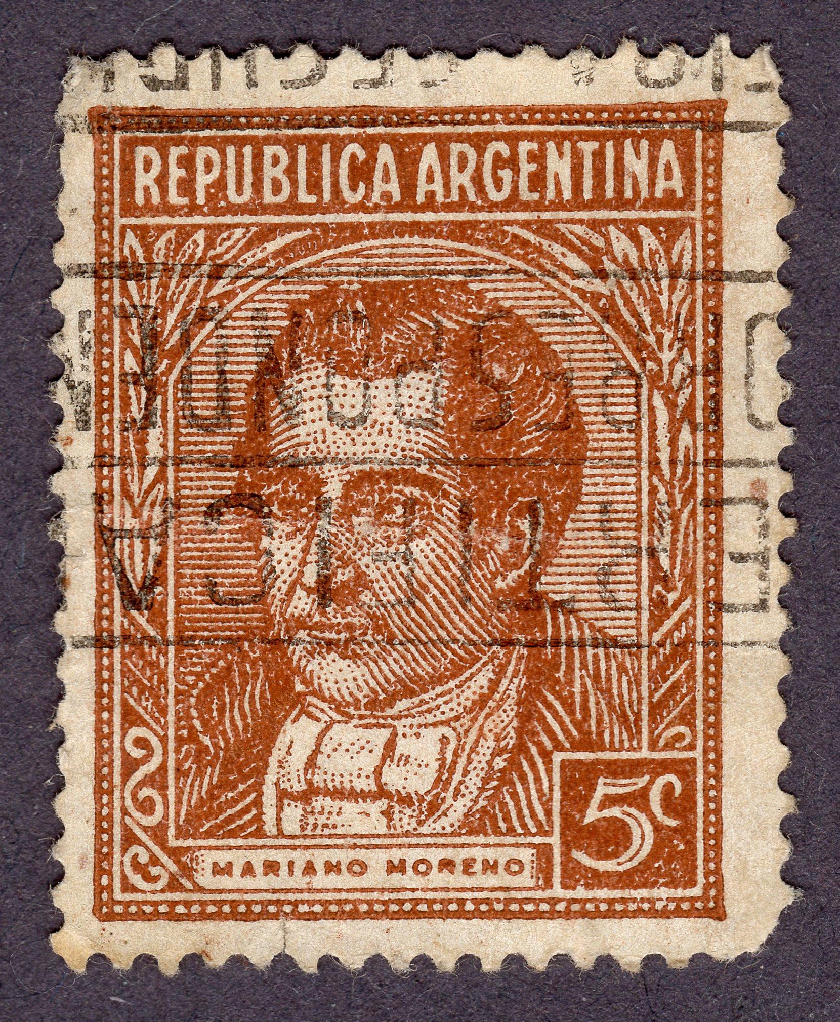 mariano moreno, republica argentina philately revenue stamps