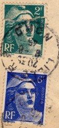 2 stamps: 5F/6F Postes RF, Marianne de Gandon