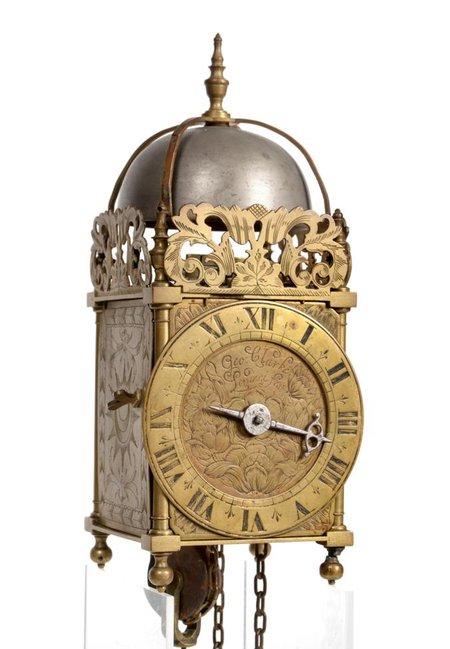 A Small Brass Hook and Spike Lantern Striking Wall Clock, signed Geo Clarke, Londini Fecit, circa 1760