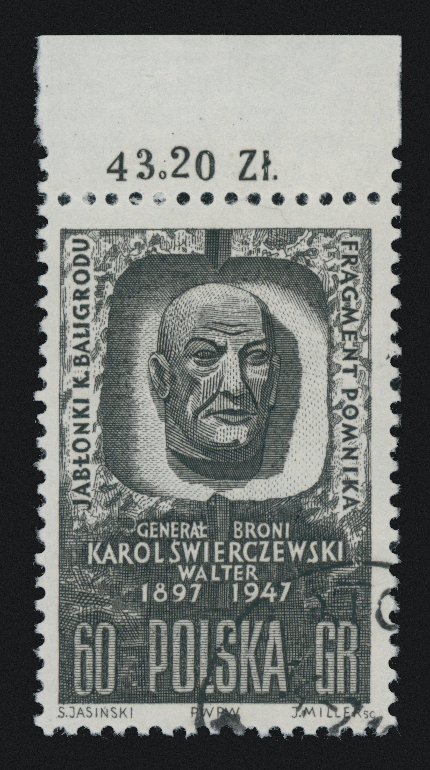 karol świerczewski, 60 gr stamp philately postage stamps