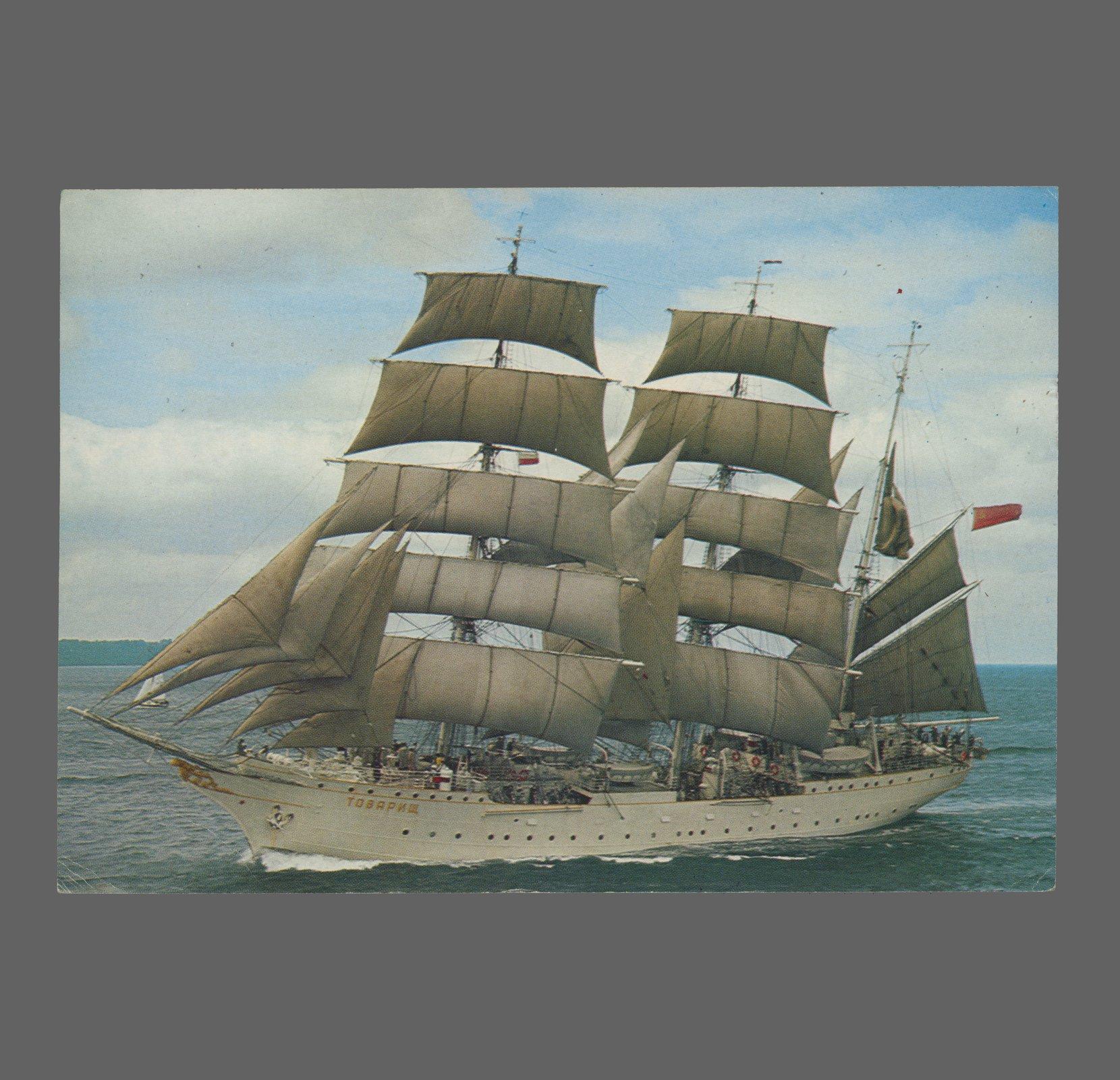 postcard – barque tovarishch, 1983 postcards vintage – real photo (rppc)