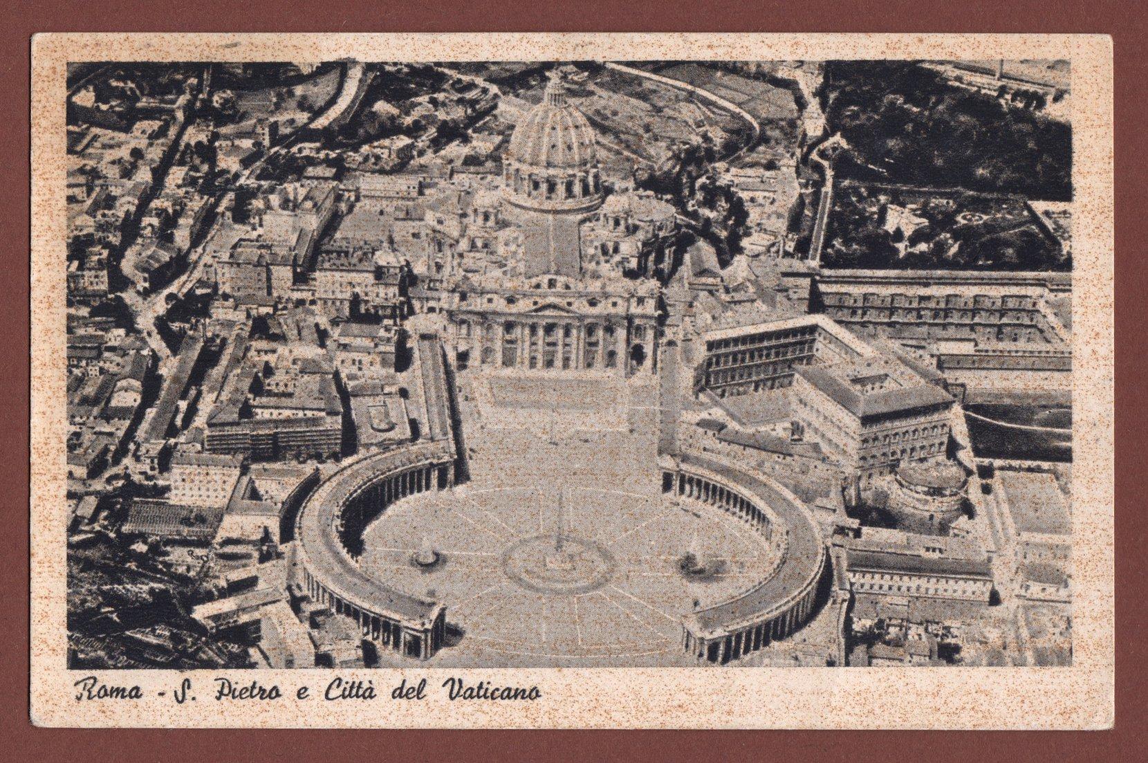 roma, piazza san pietro, cittá del vaticano (1939) postcards vintage – real photo (rppc)