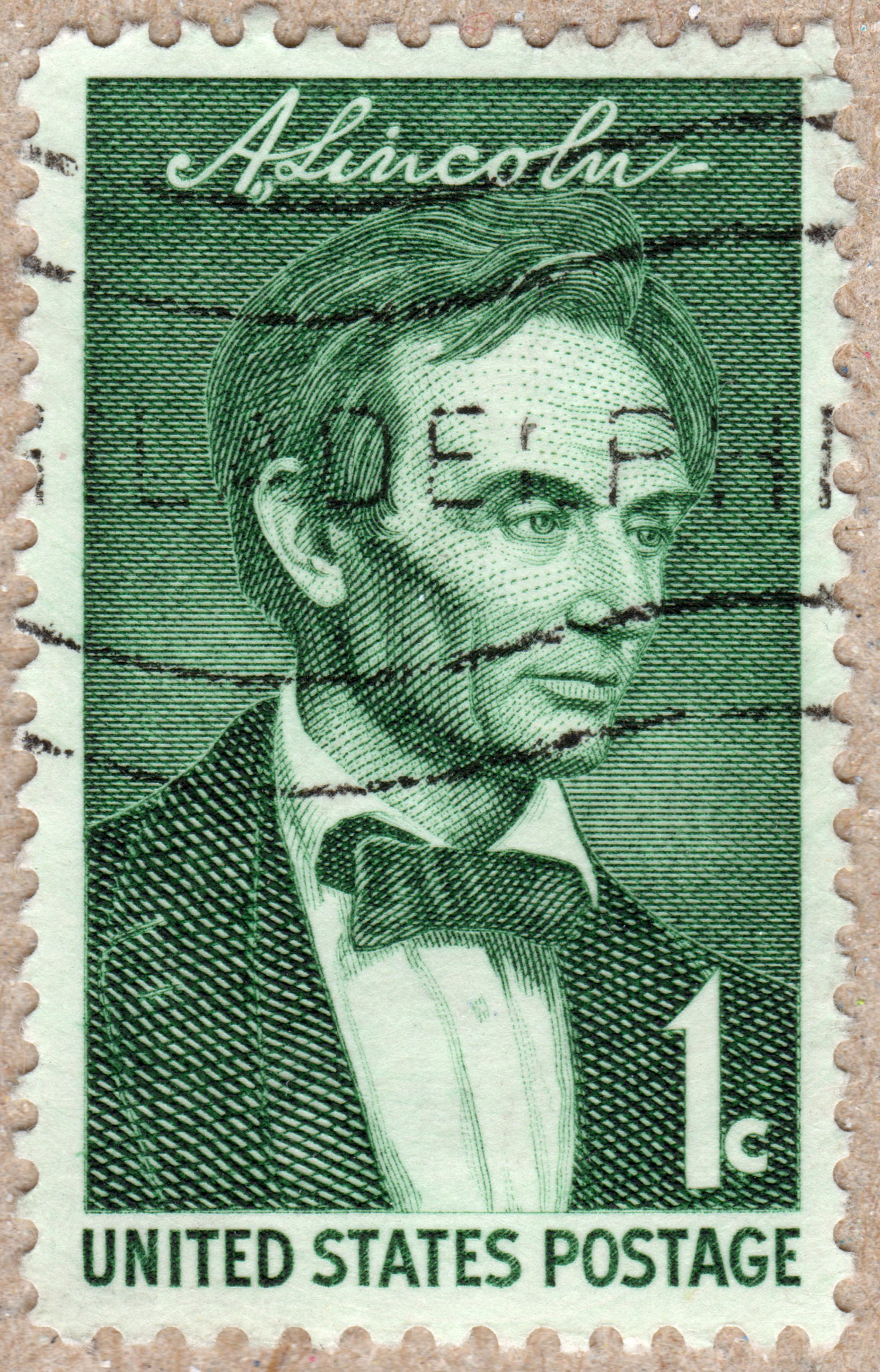 abraham lincoln usa 1¢ stamp philately postage stamps