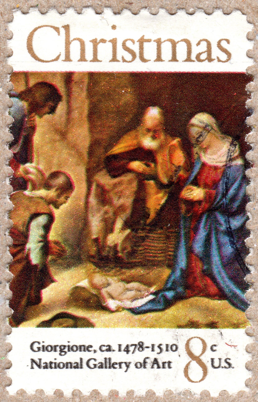 christmas, giorgione, u.s. 8¢ stamp philately postage stamps