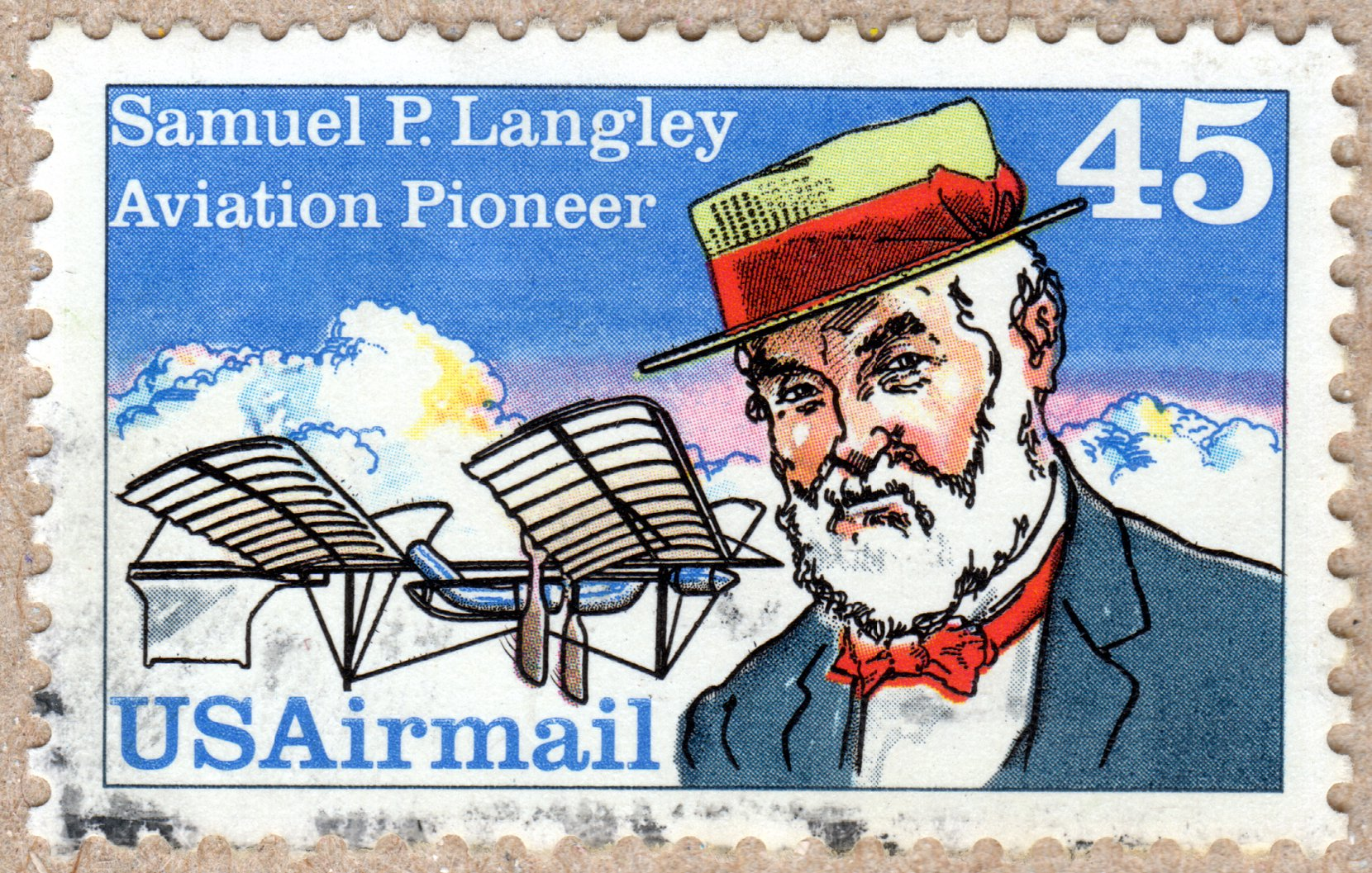samuel p. langley, aviation pioneer usairmail 45¢ stamp philately postage stamps