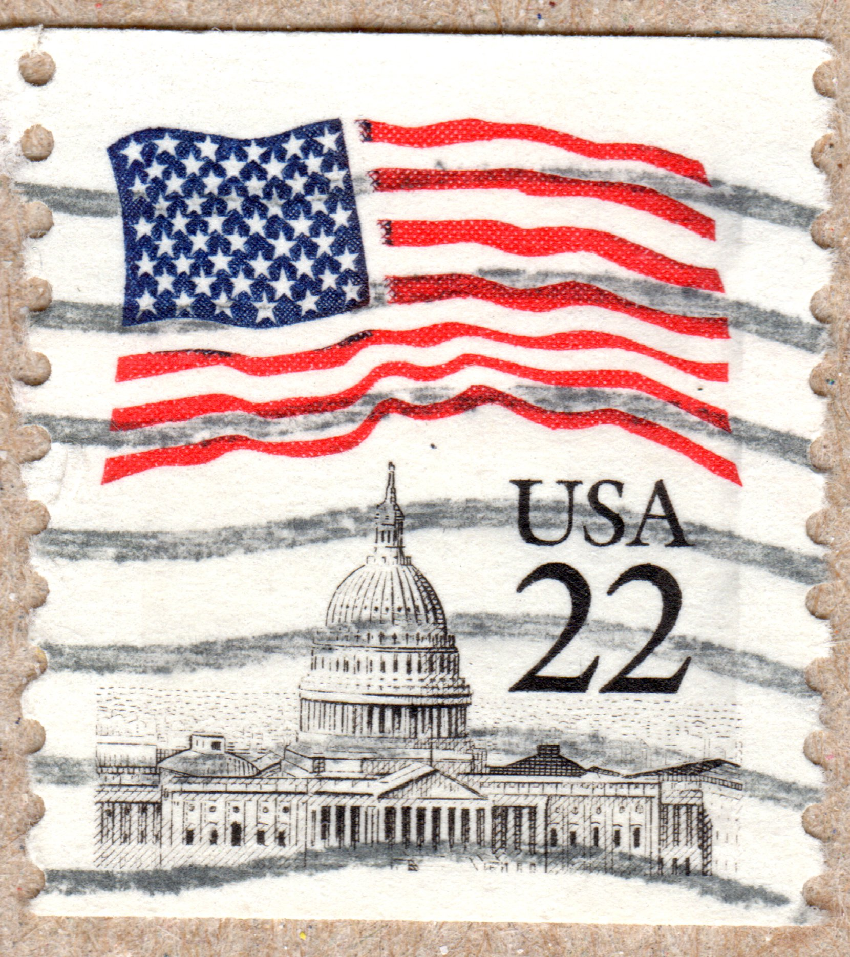american flag over capitol, u.s. 22¢ stamp philately postage stamps