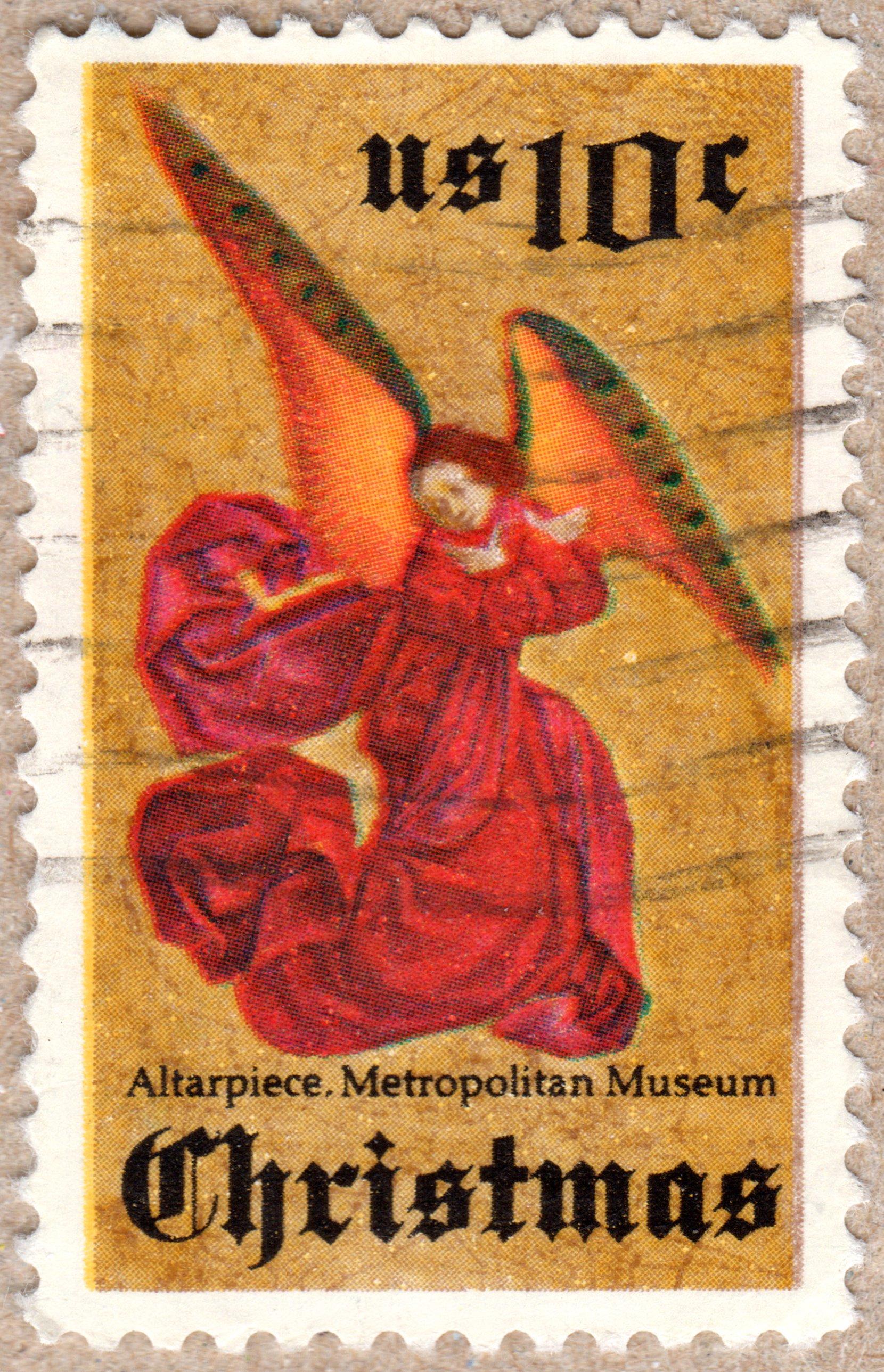 christmas, altarpiece. metropolitan museum, u.s. 10¢ stamp philately postage stamps