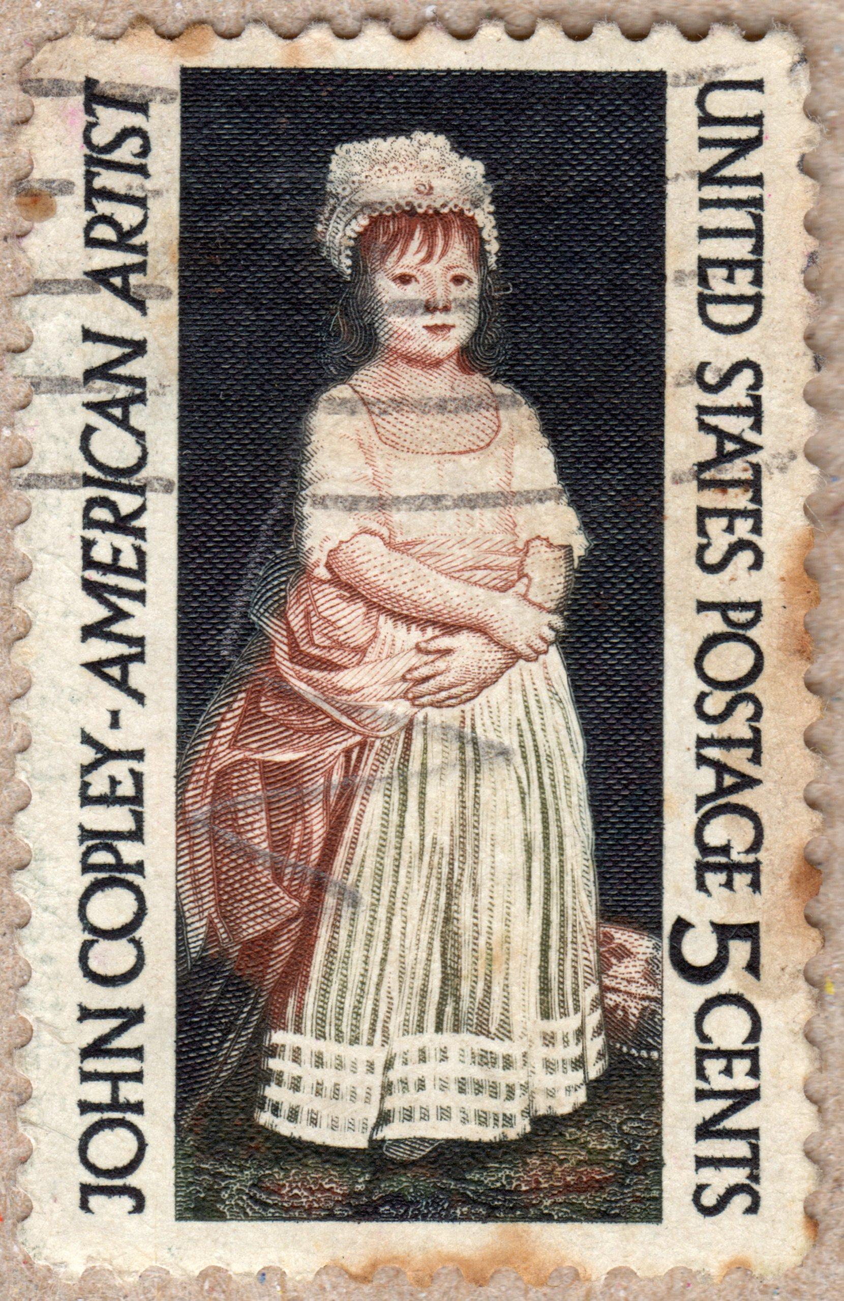 john copley - american artist,  u.s. 5¢ stamp philately postage stamps
