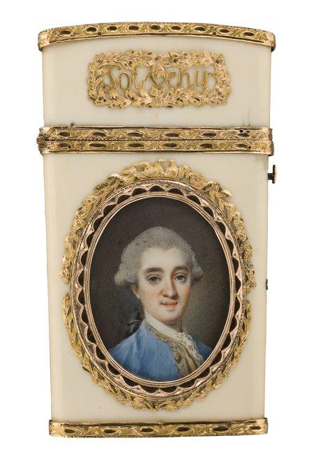 herr in blauem rock - dame in lilafarbenem kleid --  marie sicard, gen. sicardi (umkreis) art painting