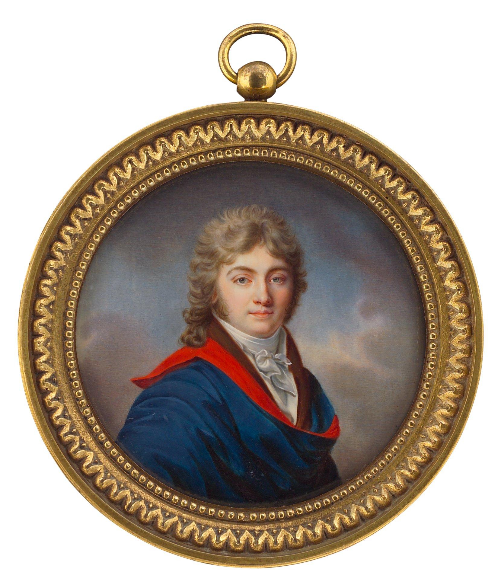 herr mit rot-blauem umhang -- jean-baptiste jacques augustin (schule) art painting