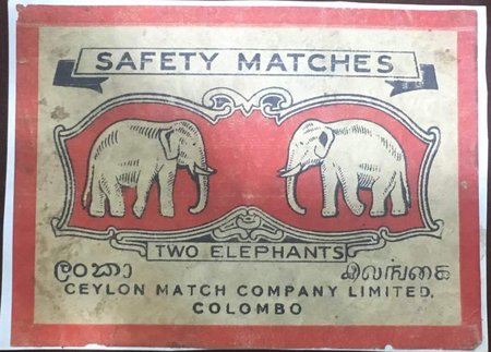 Ceylon Match Company -Two Elephants