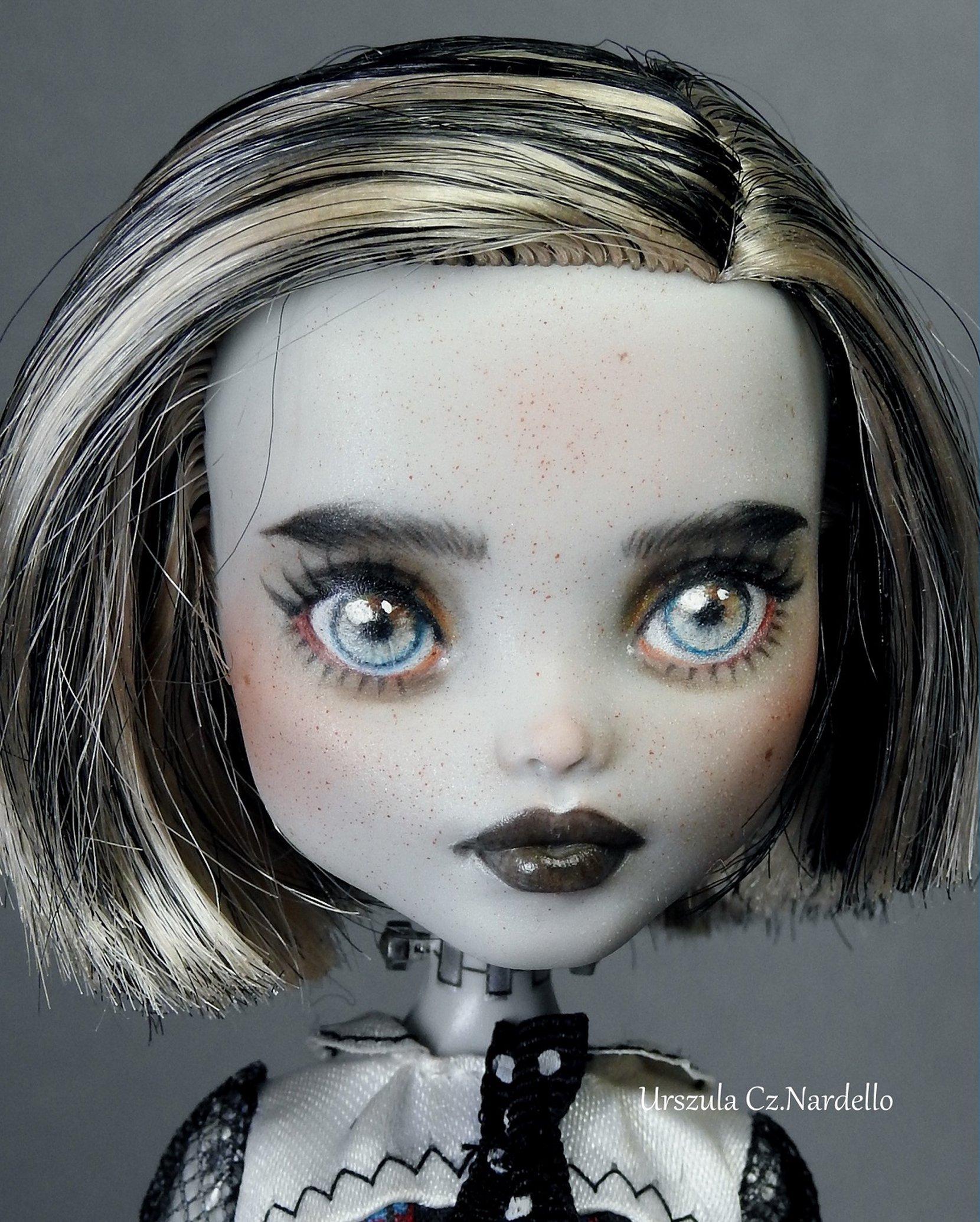 "frankie stein"" skull shores-friday the 13th"" monster high repaint ooak doll art painting"