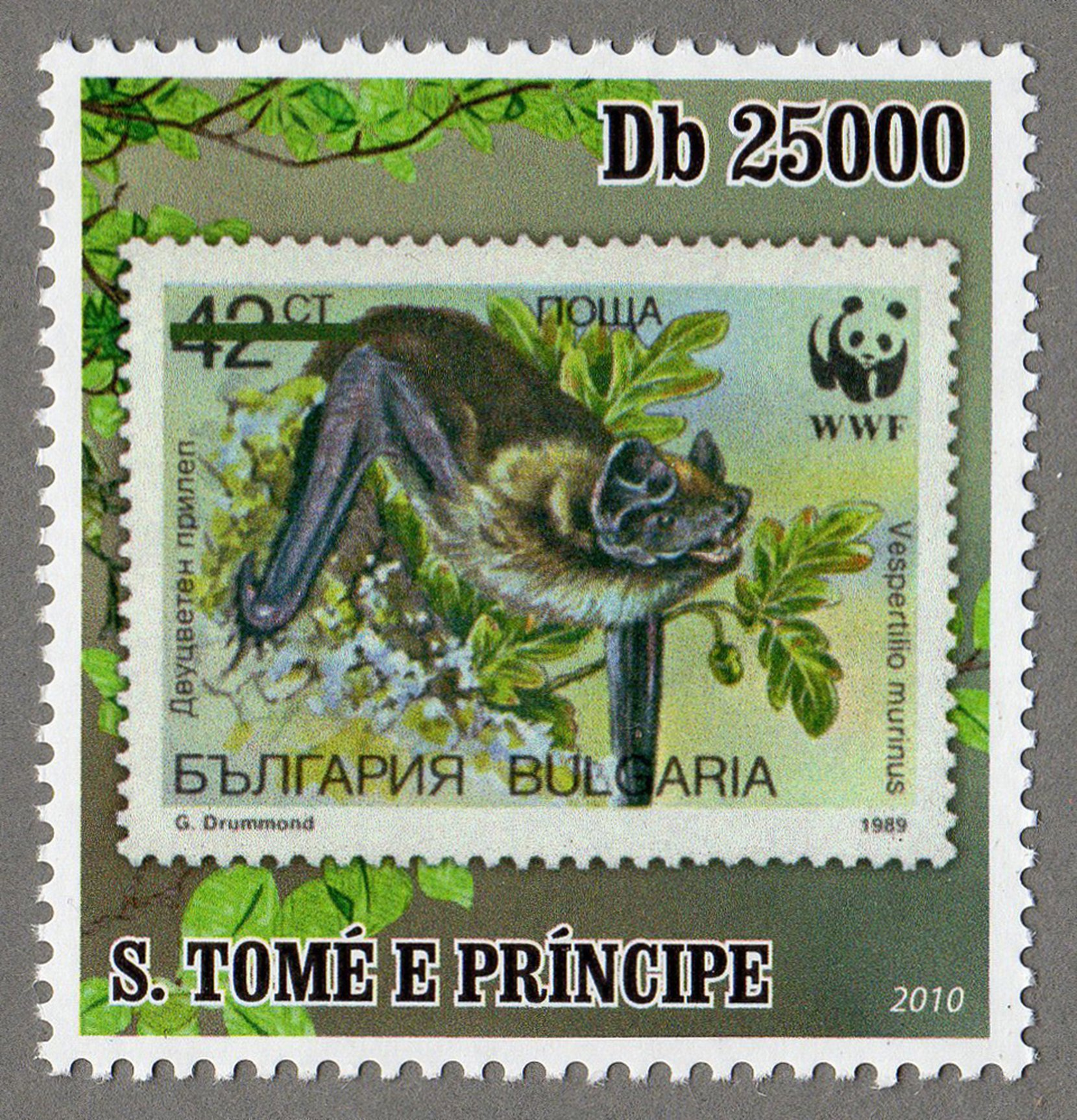 bulgaria – vespertilio murinus s.tome e principe stamp (1) philately postage stamps