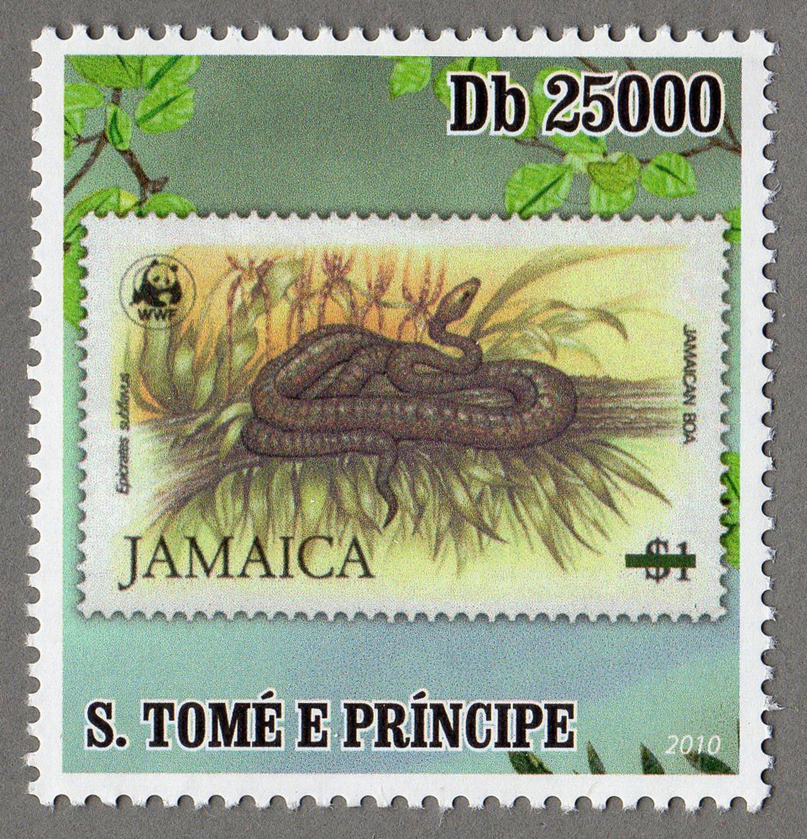 jamaica – jamaican boa s.tome e principe stamp (2) philately postage stamps