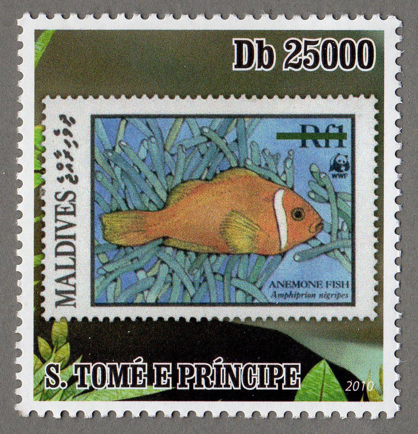 maldives – anemone fish s.tome e principe stamp (3) philately postage stamps