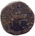 Regno di Napoli - Giovanna la Pazza e il figlio Carlo (1516-1519) Sestino con corona reale - Mir.122 - Cu gr.2,60