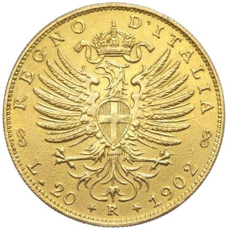 "Regno d'Italia - Vittorio Emanuele III (1900-1943) 20 Lire 1902 ""Aquila Sabauda"" con Ancoretta - RRRR ESTREMAMENTE RARA - Tiratura 115 Pezzi - Au"
