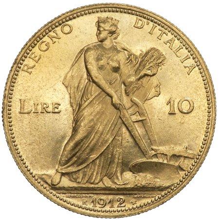 """Regno d'Italia - Vittorio Emanuele III (1900-1943) 10 Lire """"Aratrice"""" 1912 - RRR RARISSIMA - Au"""