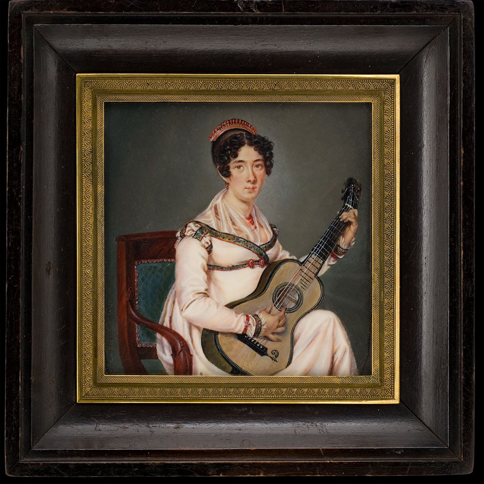 young lady with guitar --  beaunis art painting