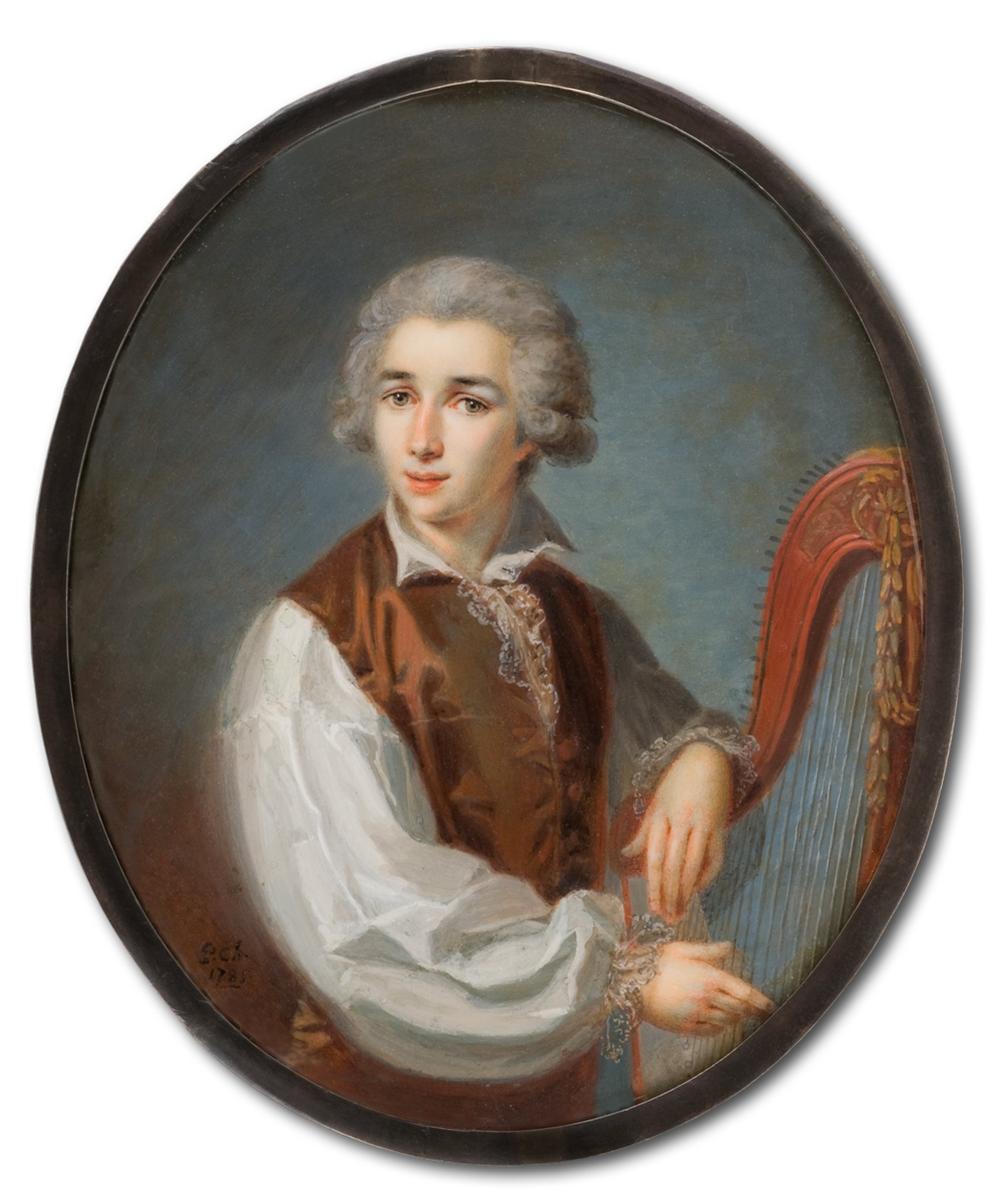 young gentleman playing a harp -- pierre chasselat art painting