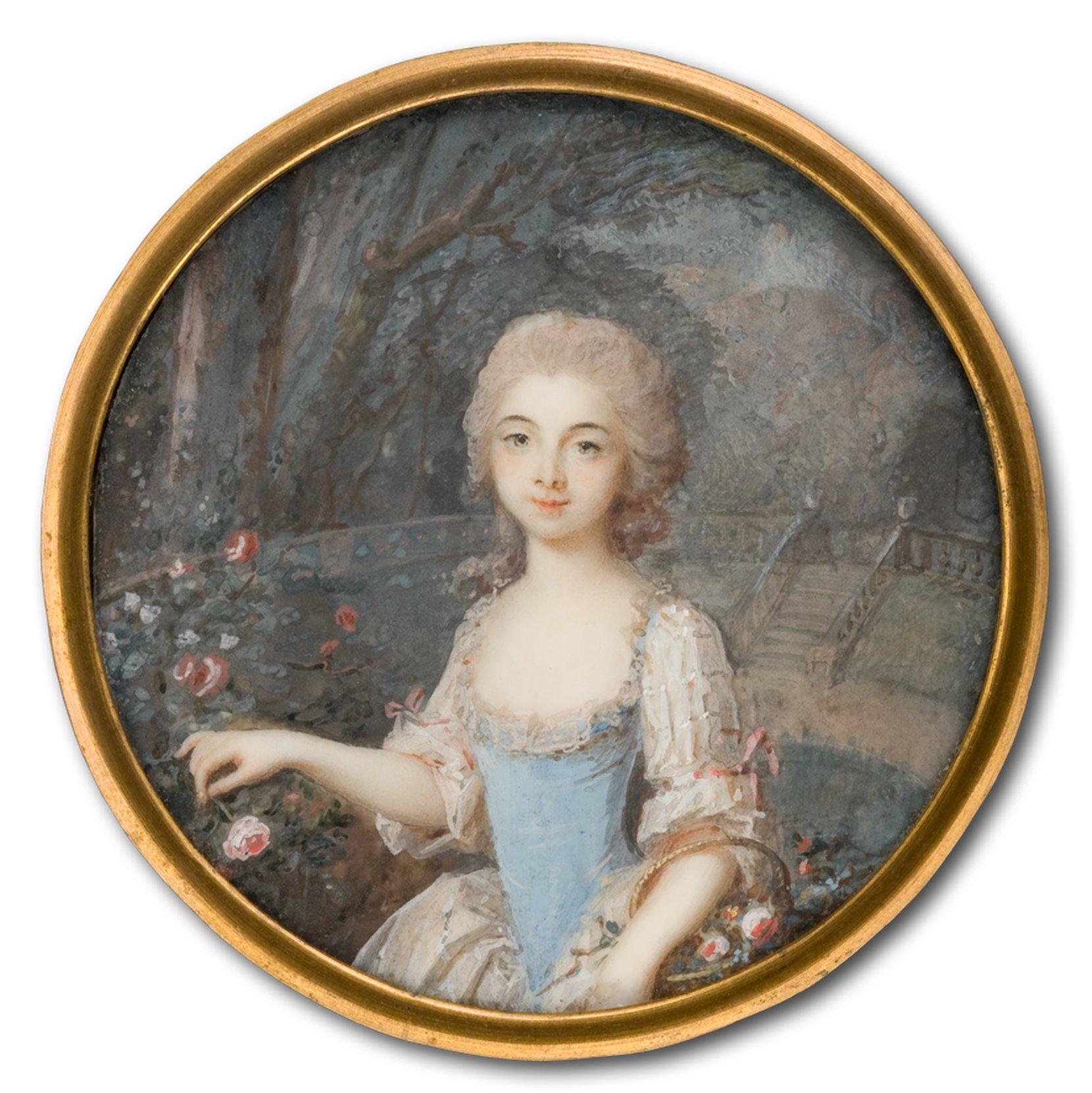 girl with flower basket --louis-lié périn-salbreux art painting