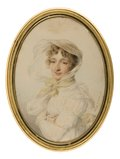 Lady in White Dress with Yellow Ribbons -- Jean-Baptiste Isabey