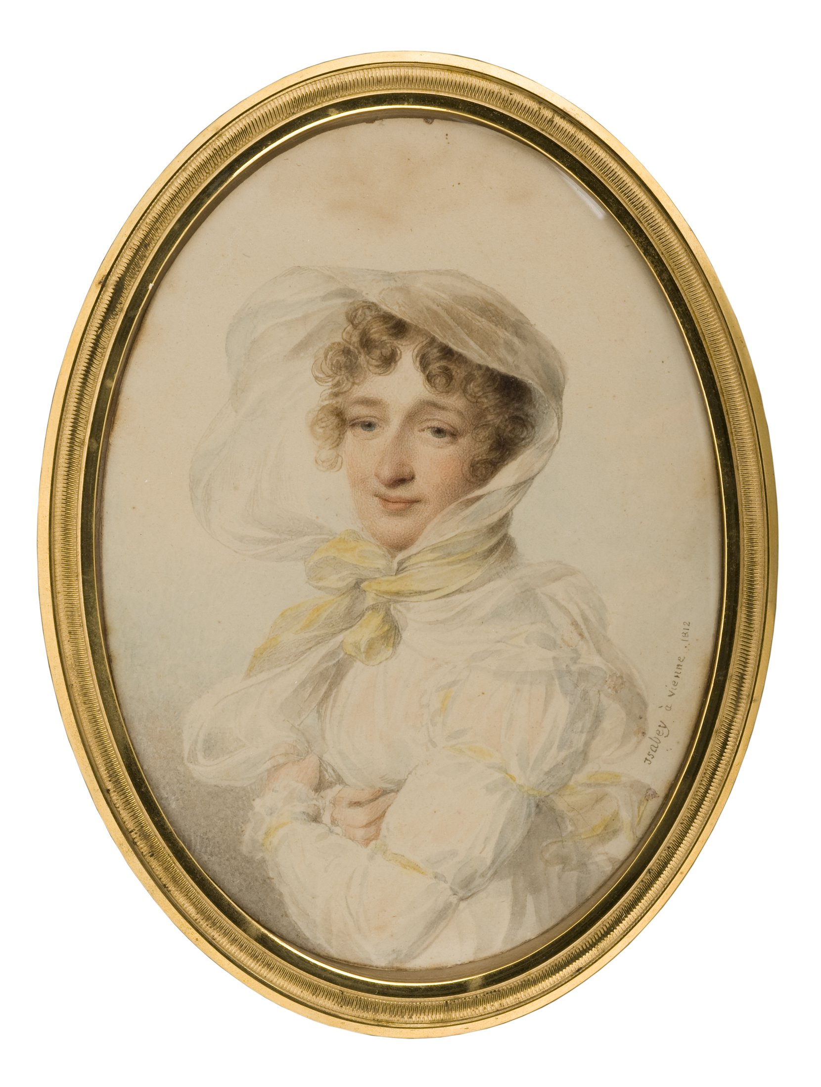 lady in white dress with yellow ribbons -- jean-baptiste isabey art painting